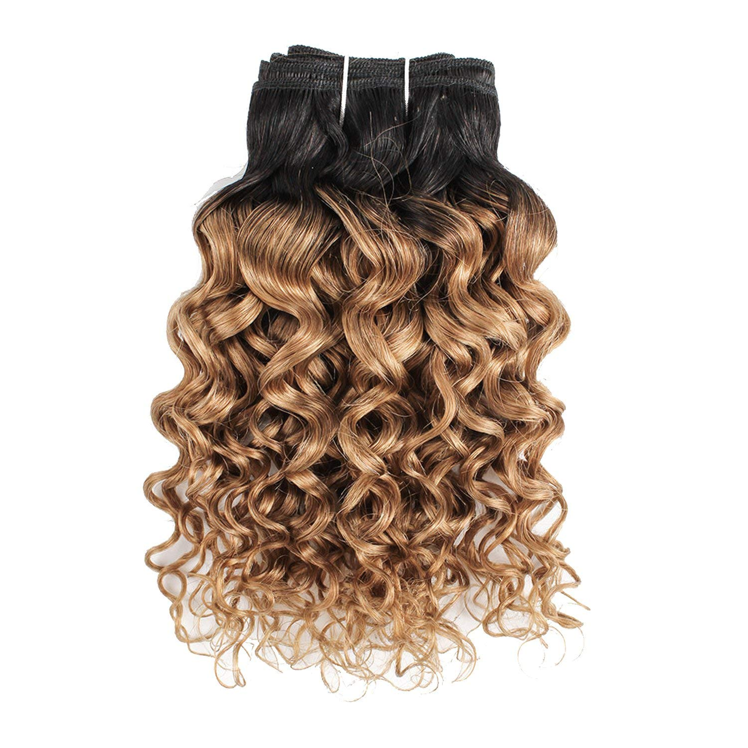 1 Bundle T 1B 27 Ombre Honey Blonde Brazilian Water Wave Hair Weave 10 24 inch Remy Human Hair Extension,14inches,T1B/27 by Peony red