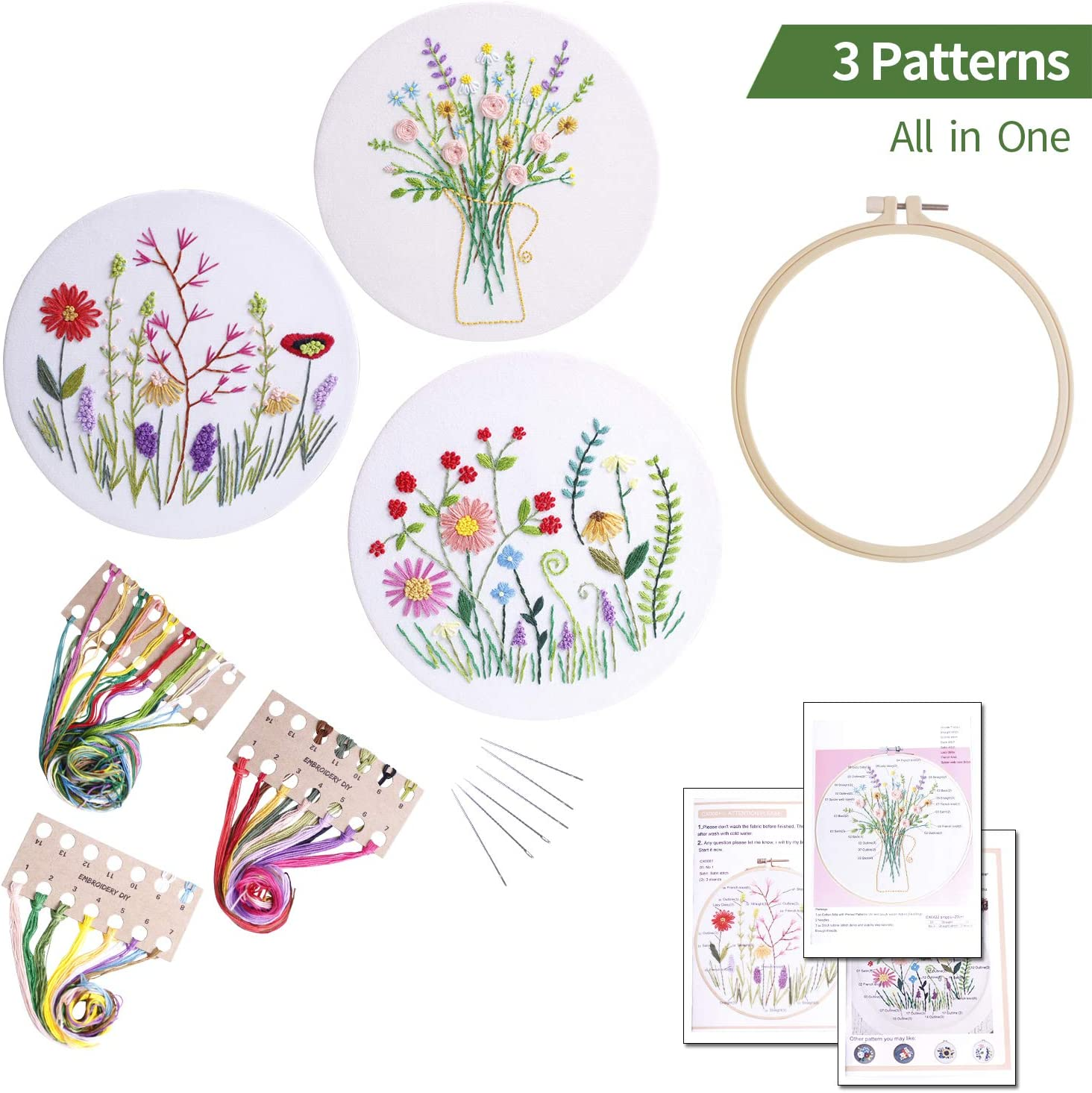 3sets Full range embroidery kits for beginners stamped embroidery kit includes embroidery cloth with pattern embroidery hoop instruction color embroidery floss threads set and needles Kit4