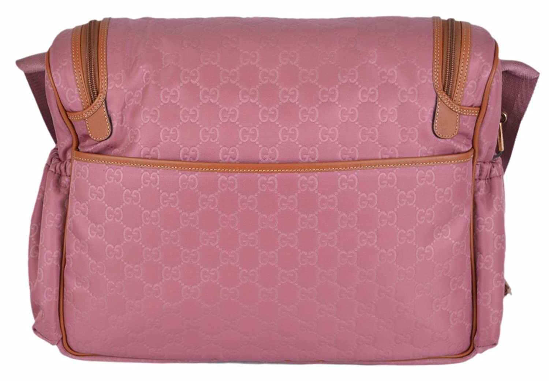 c729c5e7312b Amazon.com : Gucci Pink GG Guccissima Nylon Baby Diaper Bag : Baby