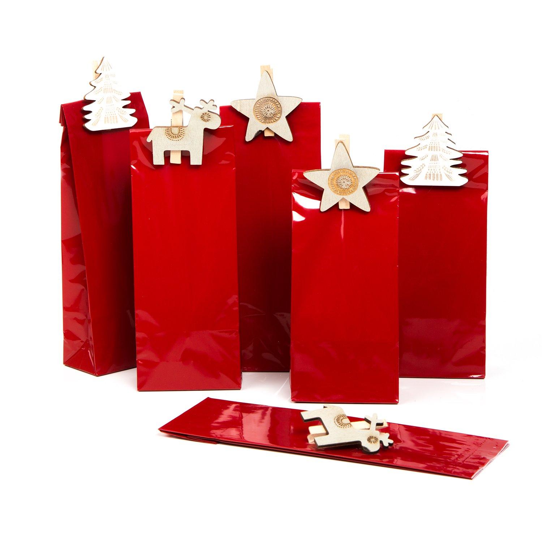 Set: 12pezzi natalizi Rosso Piccolo (7x 4x 20, 5cm) + 12mollette in legno bianco beige shabby Renna Stella alce Albero–Sacchetti di carta Lebensmittel della vera per cioccolatini biscotti dolci di Natale Jeanette Dietl