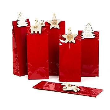 Juego de 6 bolsas de Navidad pequeñas de color rojo (7 x 4 x ...
