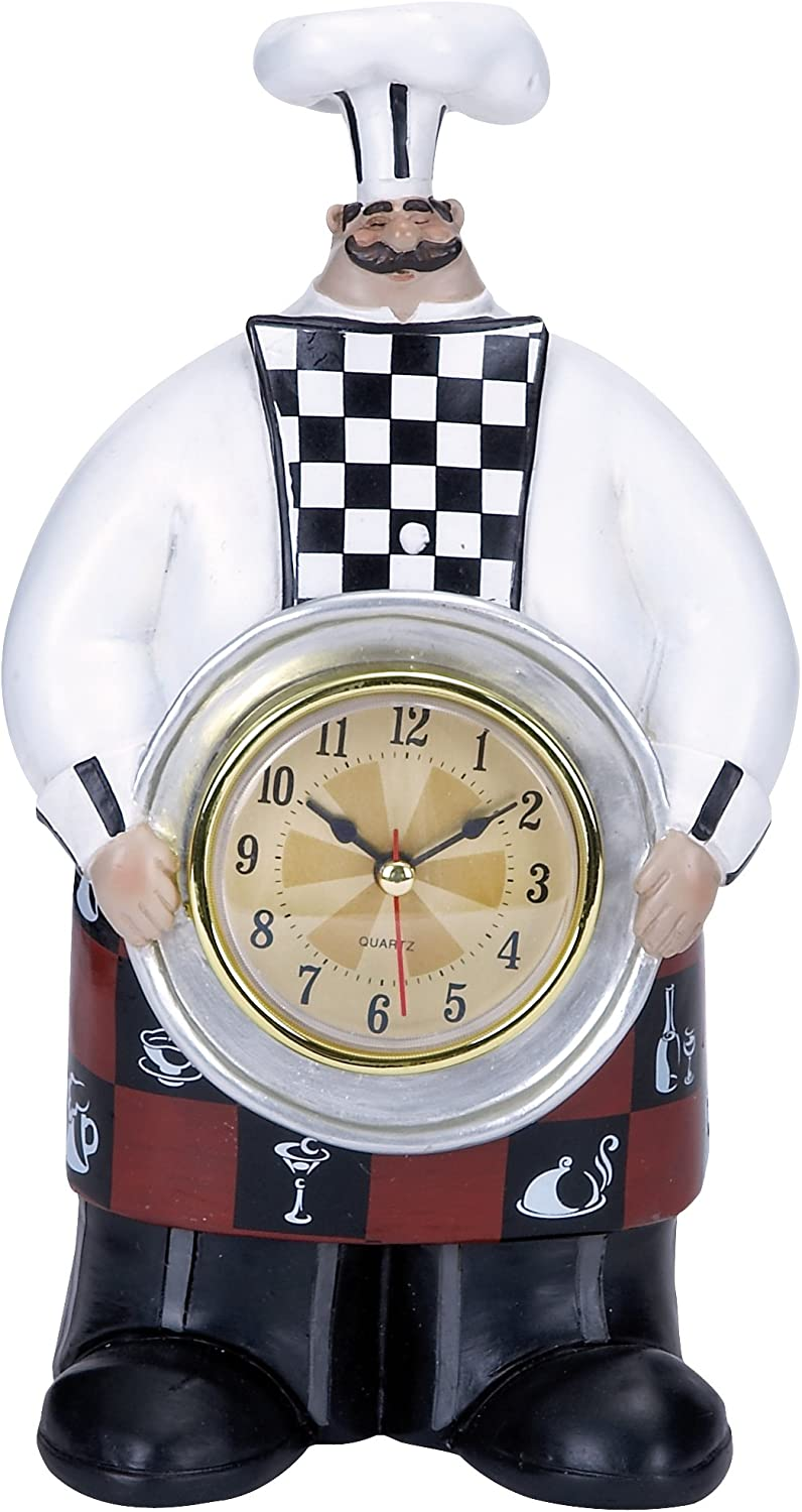 Plutus Brands Chef Wall Clock with Dainty Checkered Pattern