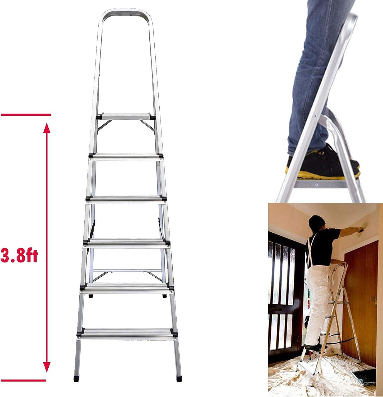 Escalera plegable de aluminio de 6 peldaños, altura de plataforma superior 3.8 pies, carga máxima 330 libras, para el hogar, cocina, garaje, hogar, oficina diaria: Amazon.es: Bricolaje y herramientas