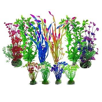 Aisamco Plantas acuáticas Artificiales, 10 Piezas Plantas de Acuario Decoraciones de Tanques de Peces Artificiales, Plantas de plástico Artificial para ...