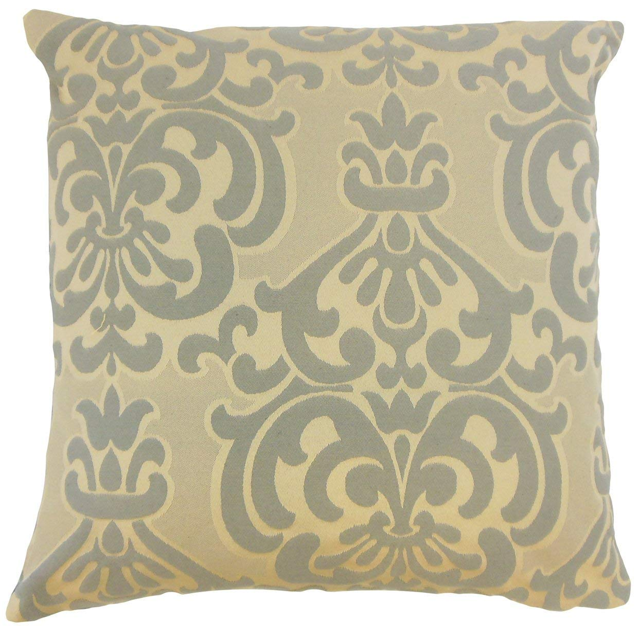 The Pillow Collection Sarane Damask Truffle Down Filled Throw Pillow