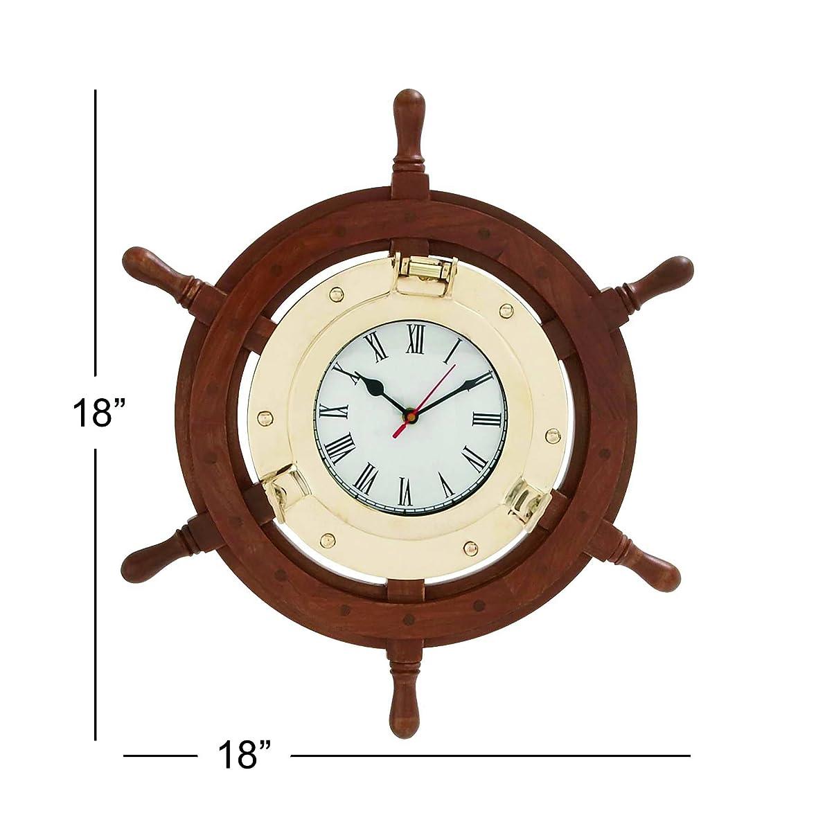 Deco 79 19002 Wood & Brass Ship Wheel Clock
