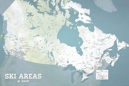 Amazon.com: Canada Ski Resorts Map 24x36 Poster (Natural Earth ... on
