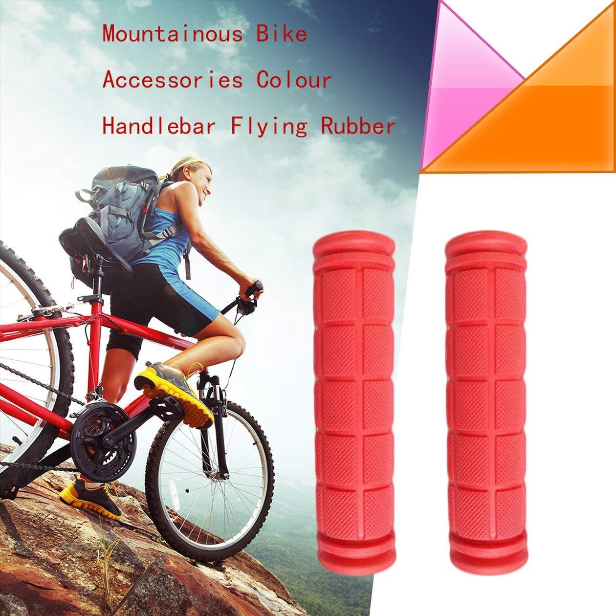 Rojo Pu/ños de Manillar de Bicicleta BIYI Pu/ños de Bicicleta de Goma Ergo Pu/ños de Bicicleta de Forma ergon/ómica y vibraci/ón//Pu/ños de Goma absorbentes de Golpes