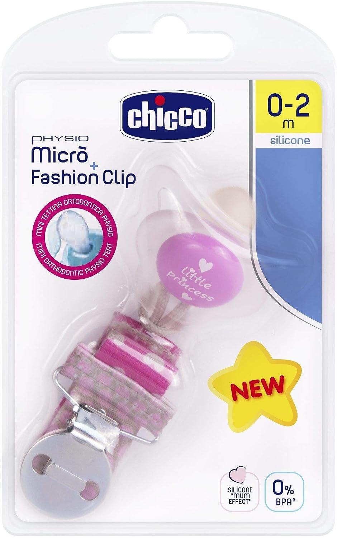 Chicco Pack Chupete Micr/ò 0-2M Con Clip Fashion Rosa 1 Unidad 300 g