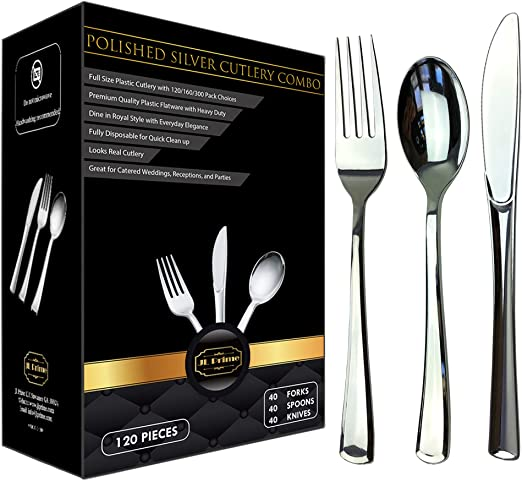 Silver Plastic 160 Silver Disposable Silverware Plastic Cutlery Heavy Duty