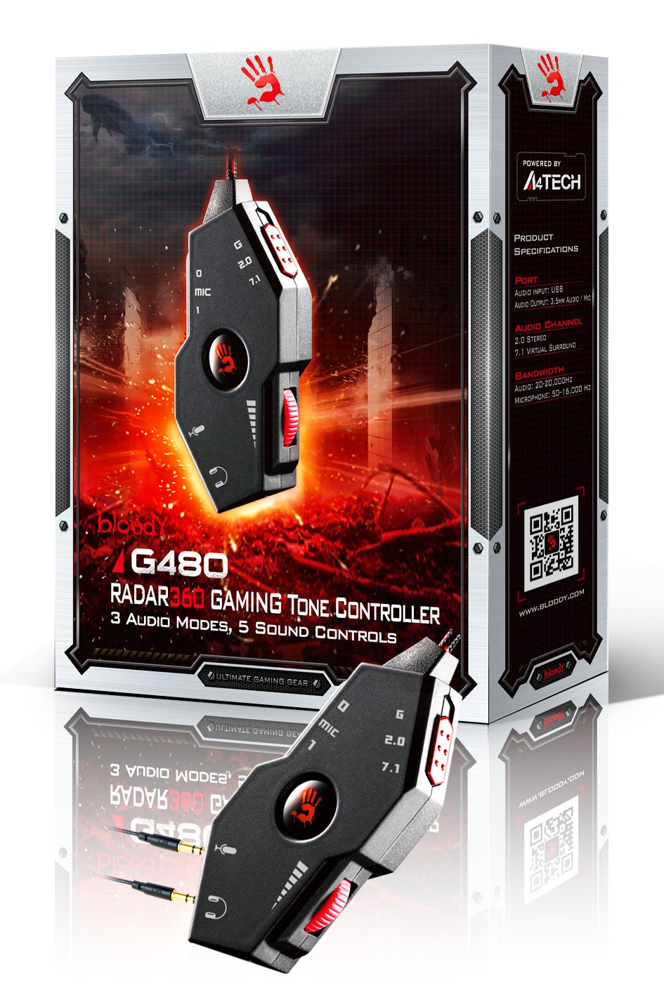 Bloody G480 Gaming Tone Controller | 3 Audio Modes | USB Sound Card Adapter  | Headset Splitter Cable 3 5mm Female to 2 Male | Compatible with Windows,
