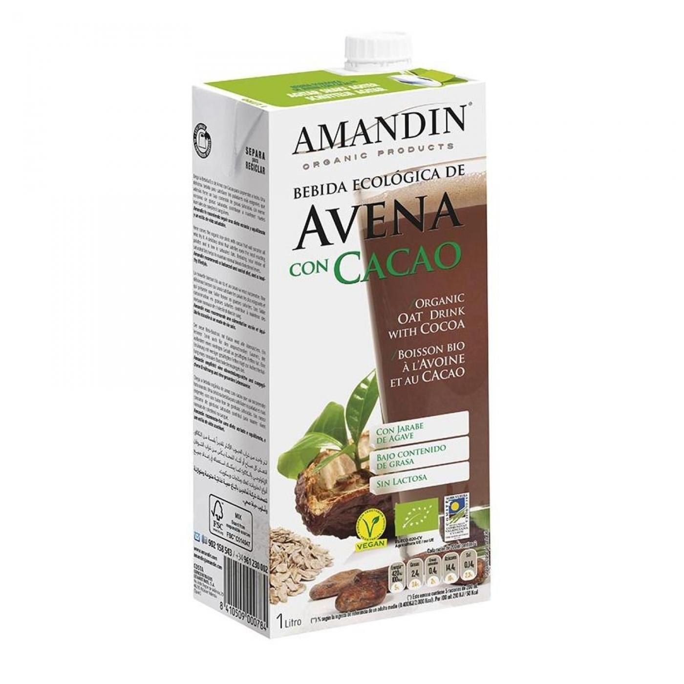 Amandin- Bebida de Avena con Cacao, 1 L: Amazon.es: Salud y cuidado personal