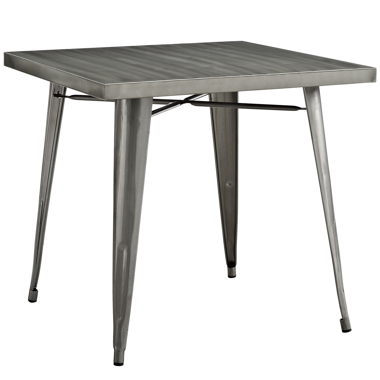 Modway Alacrity 60'' Rustic Modern Farmhouse Stainless Steel Metal Square Kitchen and Dining Room Table in Gunmetal by Modway