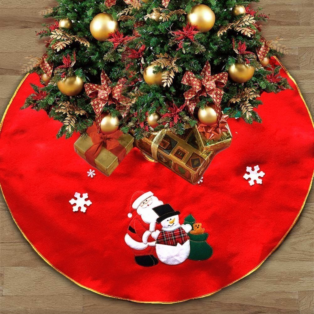 Stock Show 35'' Christmas Tree Shirt with Santa Snowman and Snowflakes Christmas Tree Decorations Embroidery Christmas Tree Aprons for Christmas New Year Party Supply