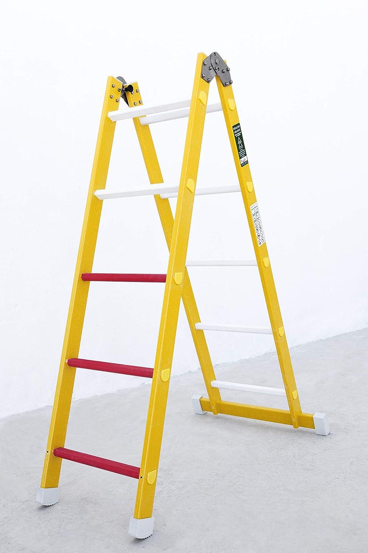 12 pelda/ños Escalera aislante de un tramo plegable fabricada en fibra de vidrio Permite su uso como escalera de un tramo o escalera de tijera Seg/ún norma UNE-EN 131