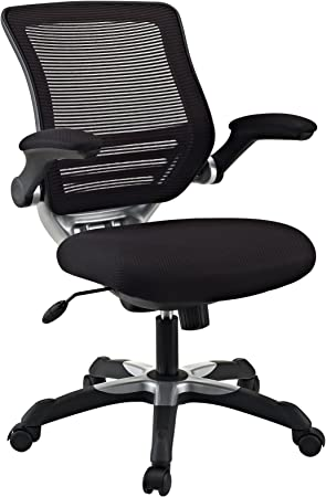 Amazon Com Modway Edge Mesh Back And Mesh Seat Office Chair In Black With Flip Up Arms In Black Furniture Decor