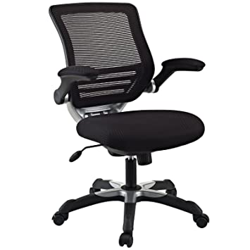 Modway Edge Mesh Back And Black Mesh Seat Office Chair With Flip Up Arms
