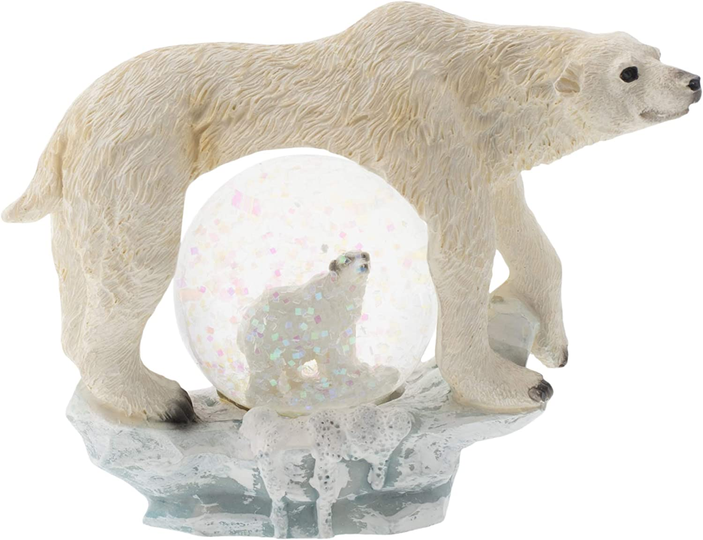 Elanze Designs White Polar Bear Figurine 45MM Glitter Water Globe Decoration