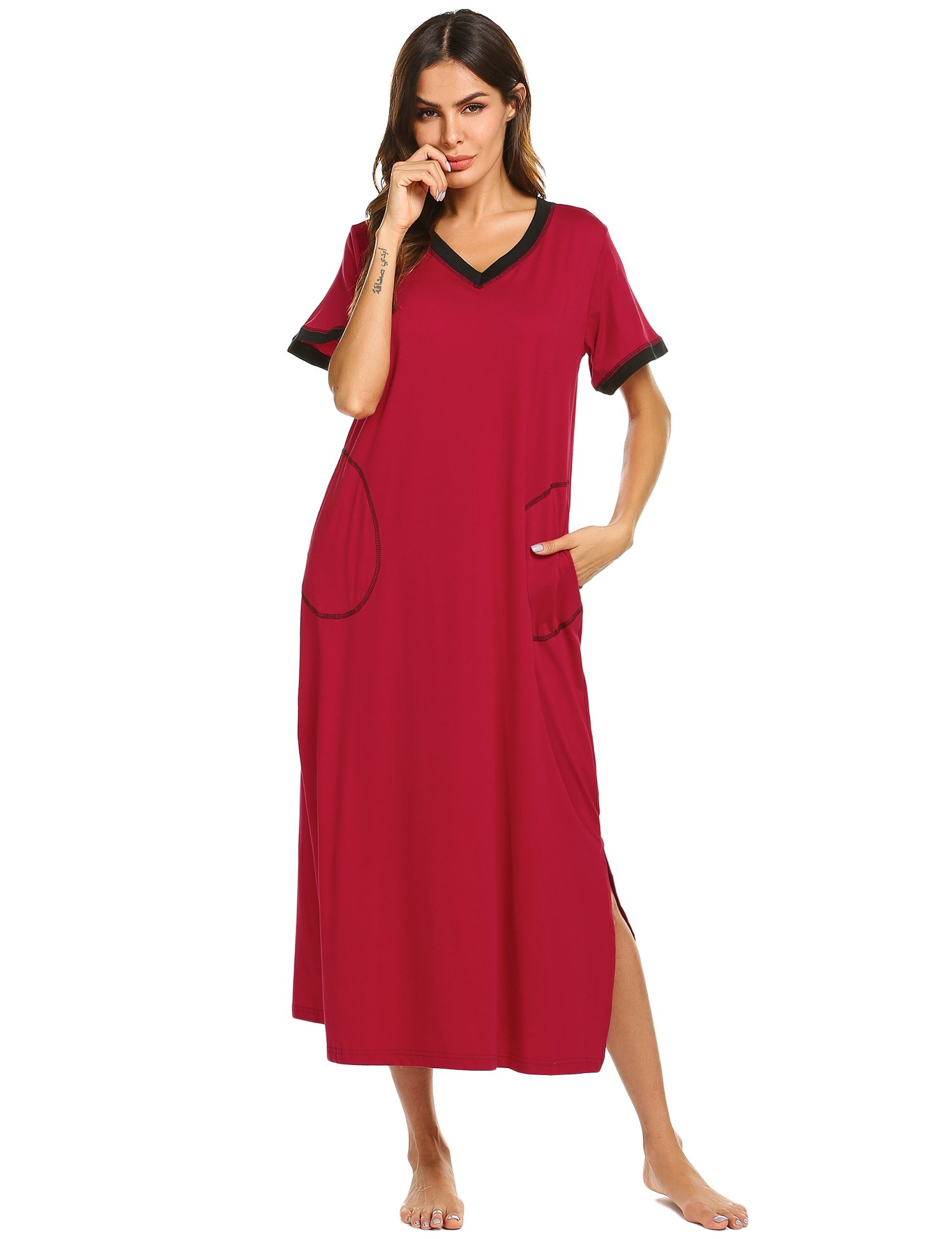 841c5a210dbe8 Ekouaer Loungewear Long Nightgown Women's Ultra-Soft Nightshirt Full Length  Sleepwear with Pocket product image