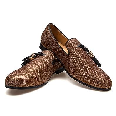 141d35d753f783 Men s Vintage Velvet Metal Loafers Shoes Slip-on Loafer Smoking Slipper (8  D (