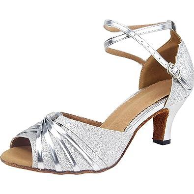 28e5dd13e7a1b wealsex Escarpins Bride Cheville Sandales Chaussures de Danse Paillette  Latine Tango Salsa Valse Femme 40 41