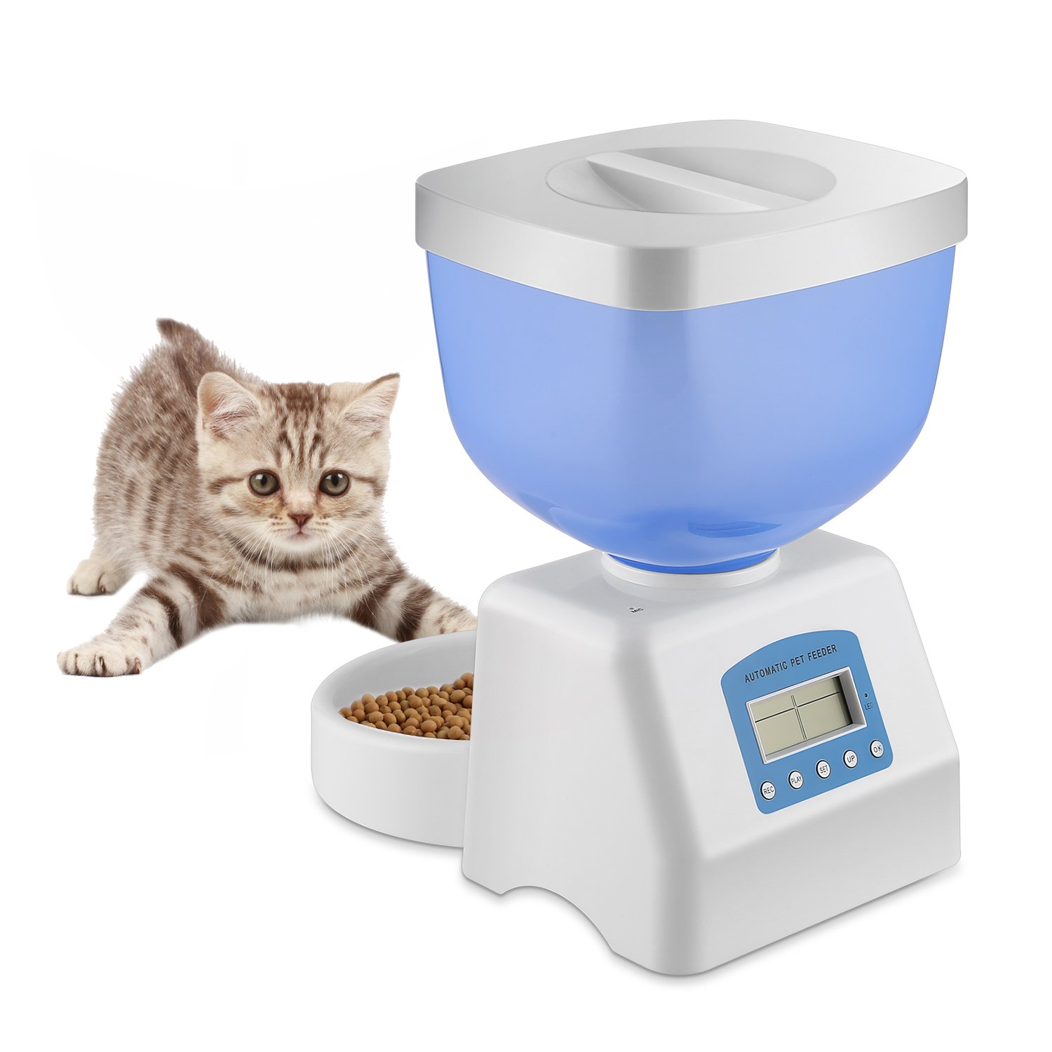 Homgrace New Version Automatic Cat Feeder Food Dispenser with LED Display, Voice Recording, Timer Programmable