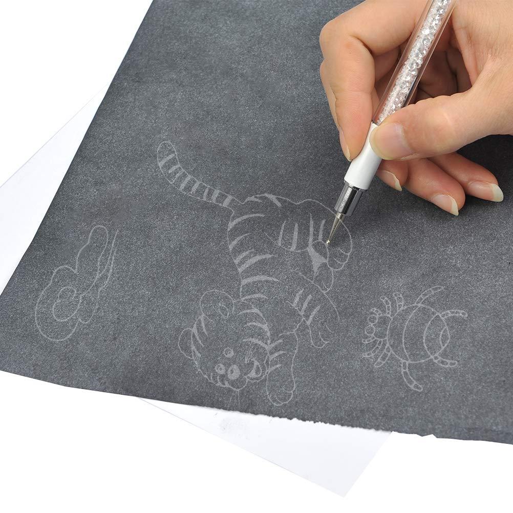 YOTINO 100 hojas Papel de Transfer Copia A4 Papel Carbono Transferencia Transfer Con Plumilla Reemplazable de 5 Tipos para Superficies de Arte ...