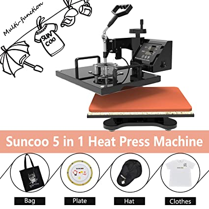 da1fc262 SUNCOO 15x15 Heat Press Machine Professional Digital Transfer Sublimation  Hot Pressing Machine- Swing Away,
