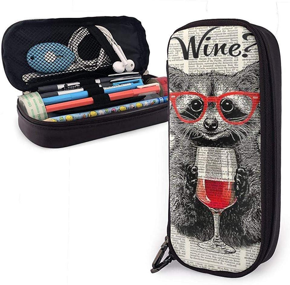 Los mapaches usan copas de vino tinto Estuche de cuero, estuche para bolsa de lápices Estuche estacionario: Amazon.es: Oficina y papelería