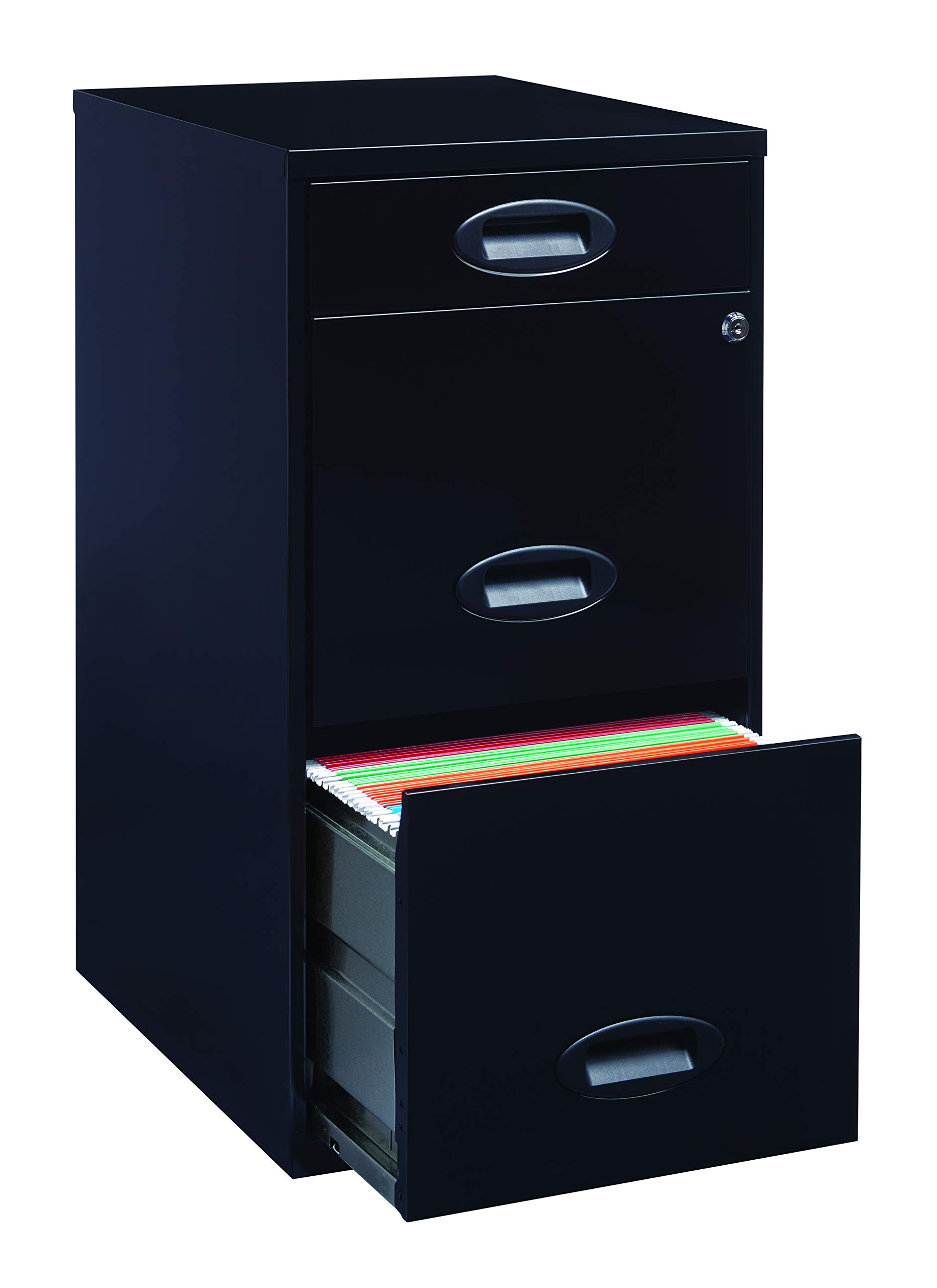 Office Dimensions 18'' Deep 3 Drawer Metal Organizer File Cabinet with Oval Handles, Black (21617) by Space Solutions