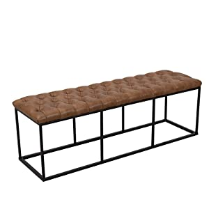 HomePop Faux Leather Button Tufted Decorative Bench with Metal Base,Brown