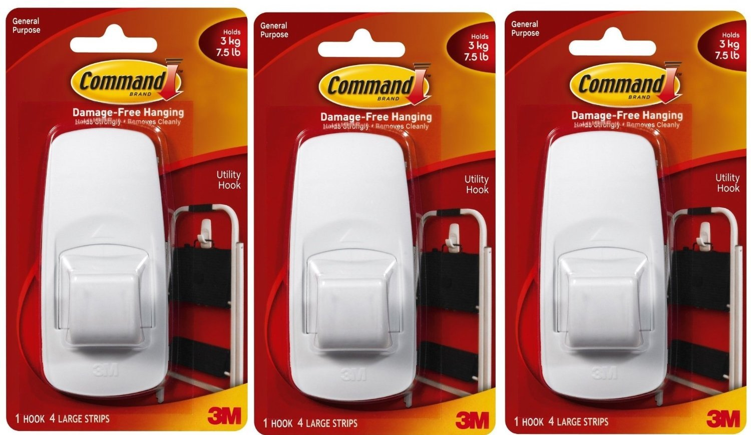 Command Jumbo Plastic Hook with Adhesive Strips, 3-Hooks