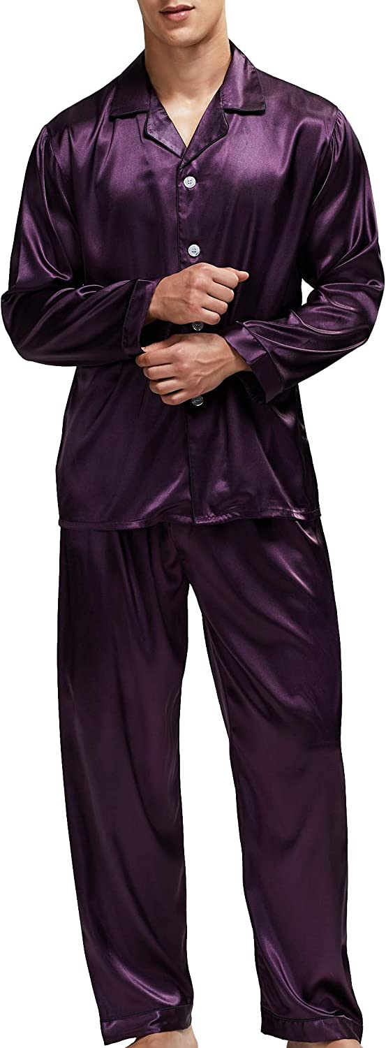 Men/'s Sleepwear Satin Pyjama Set Nightwear Loungewear