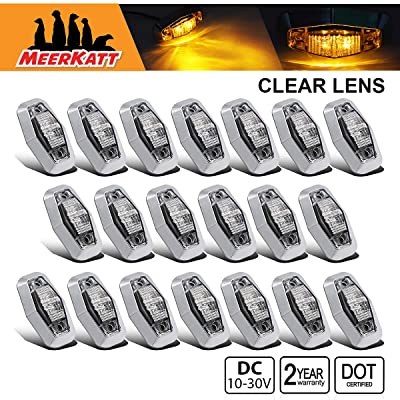 Meerkatt (Pack of 20) 2.5 Inch Mini Clear Lens Amber LED Marker Identification LightsSealed Clearance Bulb Super Flux Mount for Truck Cab Bus Trailer Boat Camper Universal 10-30v DC Waterproof AA1030: Automotive