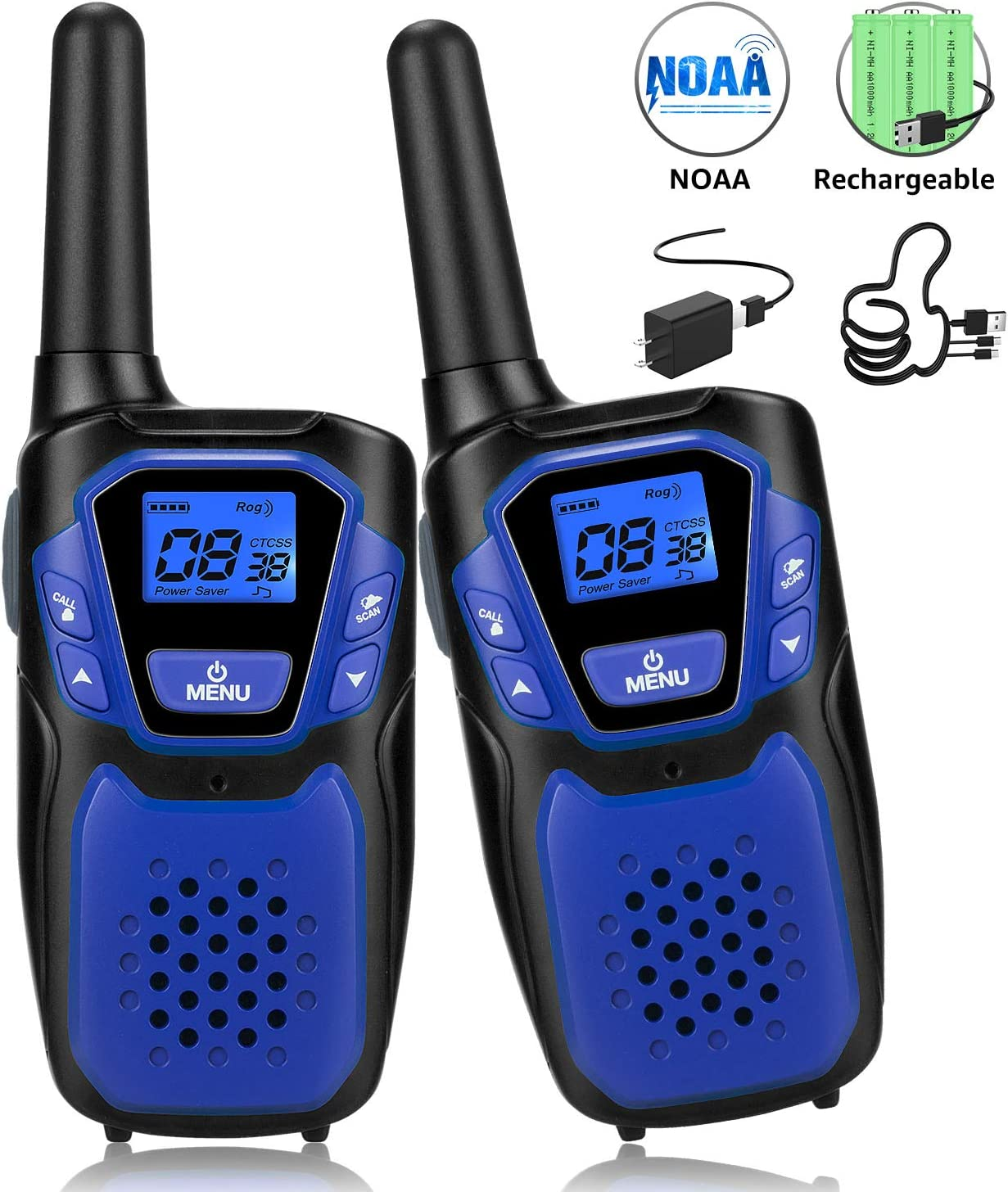Walkie Talkies for Adult, Easy to Use Rechargeable Long Range Walky Talky Handheld Two Way Radio with NOAA for Hiking Camping