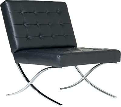 Studio Designs Home Modern Atrium Accent Chair Lounge Chair for Living Room  Bedroom, Bonded Leather, Black, 72008