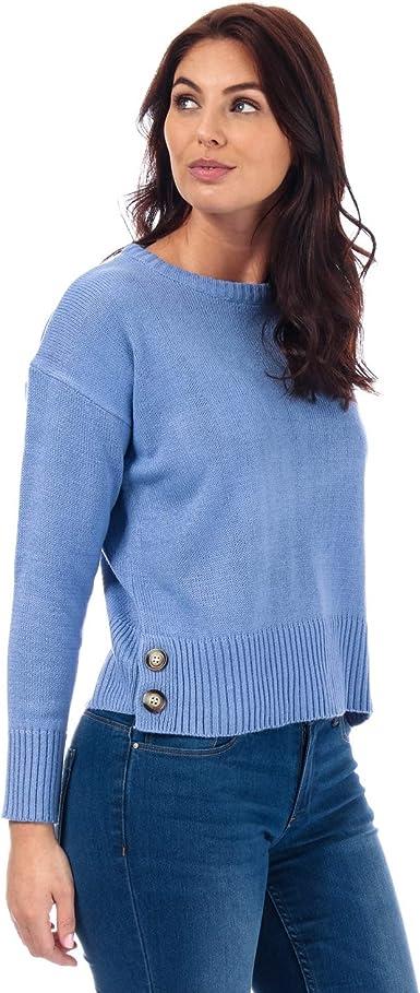 Brave Soul Pull Button Hem Col Rond Bleu Femme: