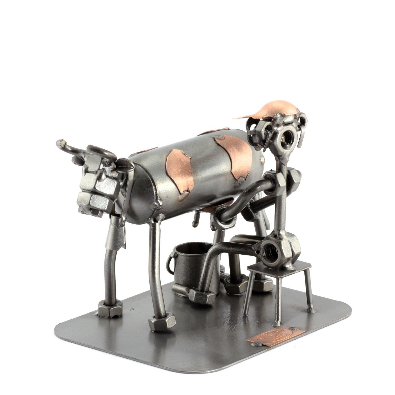 Steelman24 I Schraubenmännchen Bauer Mit Kuh Mit Persönlicher Gravur I Made in Germany I Handarbeit I Geschenkidee I Stahlfigur I Metallfigur