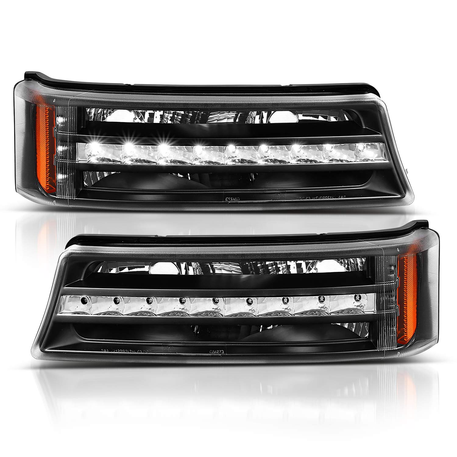 AmeriLite Black LED Parking Lights Replacement Set for Chevy Silverado Avalanche Passenger and Driver Side