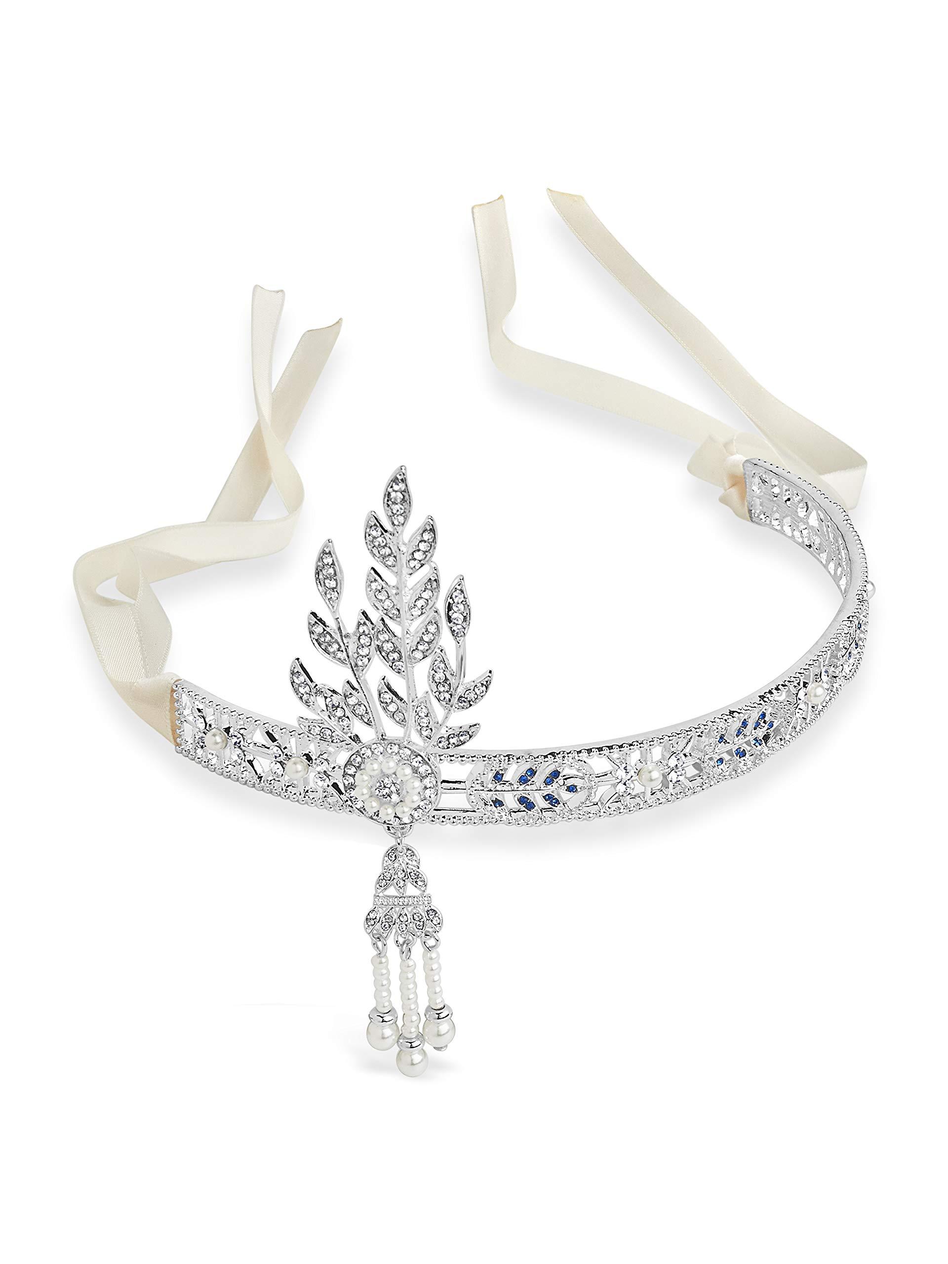 Sterling Forever - Gatsby Inspired Art Deco Wedding Tiara Headpiece (Cream)