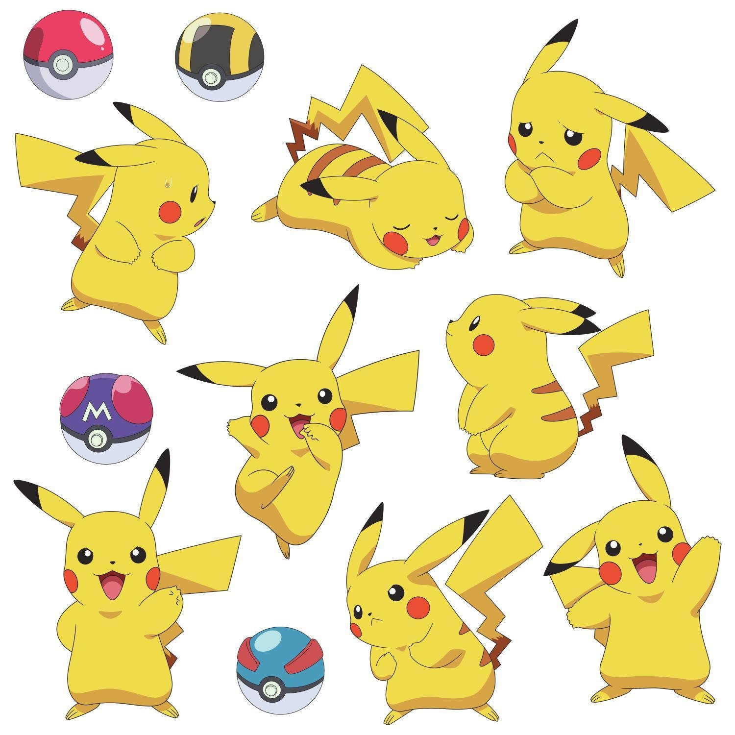 RoomMates RMK3596SCS Pokemon Pikachu Peel and Stick Wall Decals ...