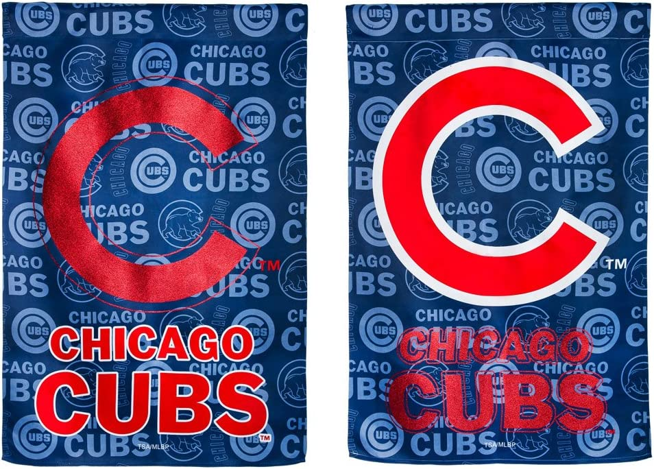 Team Sports America Suede Chicago Cubs Glitter Logo Garden Flag, 12.5 x 18 inches