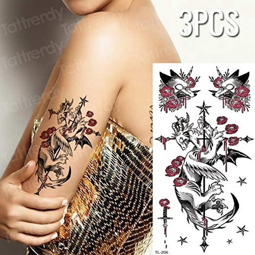 tzxdbh 3 Unidades/Tatuaje Pegatina Flor Brazo Conjunto de Tatuaje ...