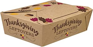 """Thanksgiving Leftovers"" Foldable to Go Paper Boxes, 2.5"" H x 8.3"" W x 6"" D, 5 Ct."