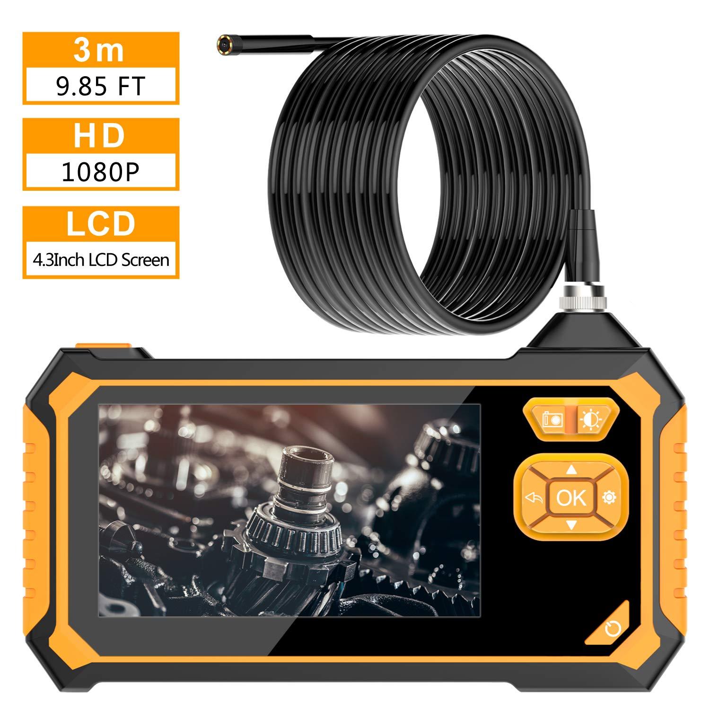 Digital Industrial Endoscope, VITCOCO 1.57-196inch 1080P HD 4.3inch LCD Screen Focus Distance Digital Borescope, 2600mAh Lithium-Ion Battery IP67 Waterproof Snake Camera Inspection Camera (9.8FT)