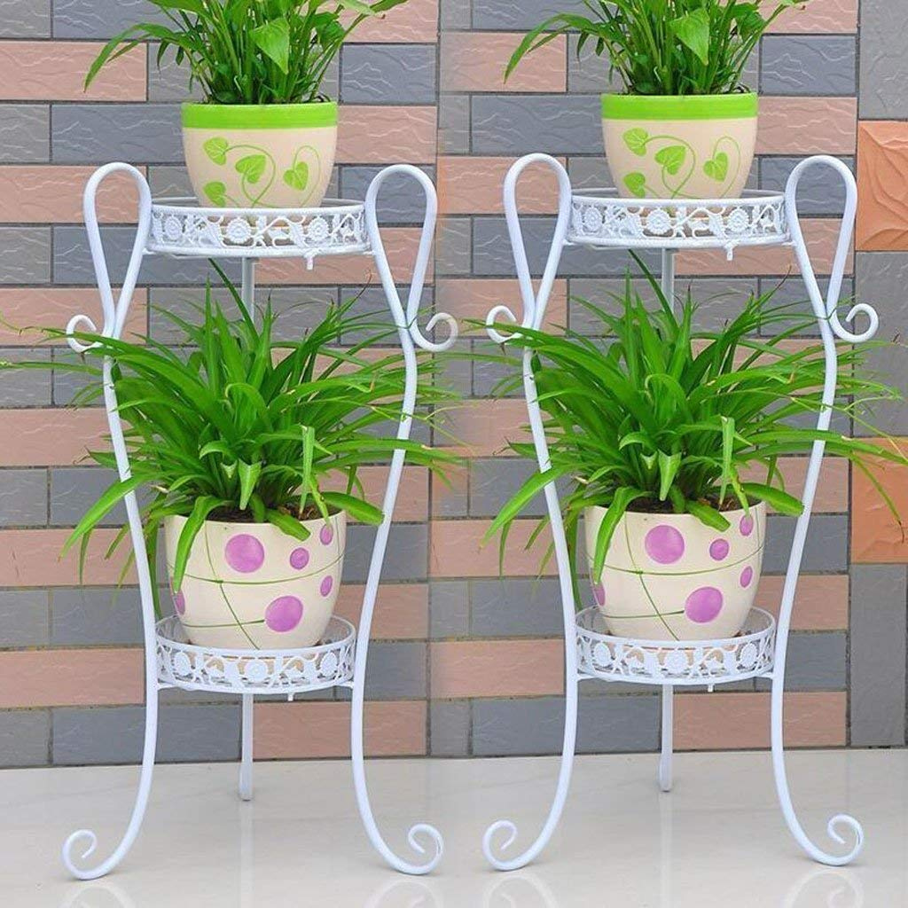 White Large Gifts & Decor Plant Stand Shelf Flower Racks Iron Art Multi-Layer Flower Stand Balcony Living Room with Flower Pot Rack Indoor Shelf Three-Dimensional Flower Stand (color   Yellow, Size   Large)