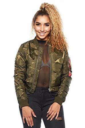 c7a829ca60033 GENx Womens Fashion Printed Camo Zipper Pocket Bomber Jacket RJK-1000 (S,  Camo) at Amazon Women's Coats Shop