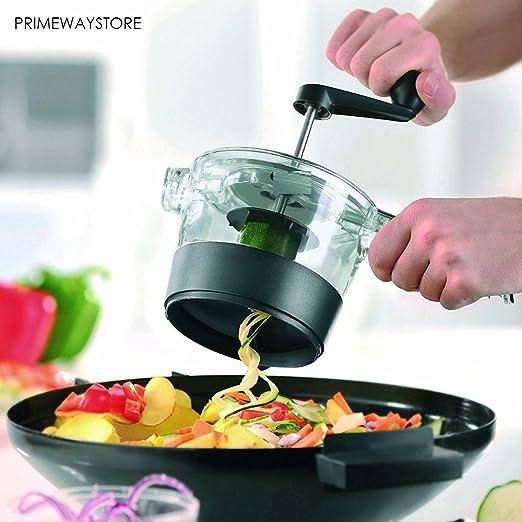 Compra Robot de cocina manual, ensaladera, verduras, Copa espiral, corte verduras, cortador de frutas, corte Chips, espiralizador de verdura en espiral para hacer espaguetis de verduras en Amazon.es