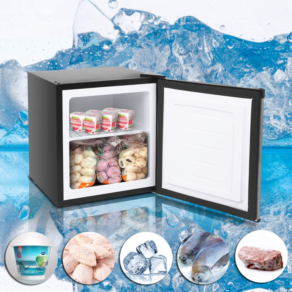 Upright Freezer with Compact Reversible Single Door,Removable Shelves Free Standing Mini Freezer with Adjustable Thermostat for Home//Kitchen//Office Stainless steel,1.1 Cu.ft