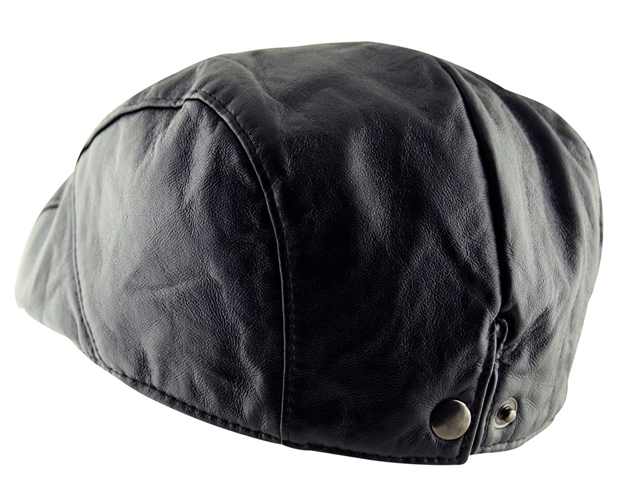 895e418b344f9 Itzu Men s Flat Cap Plain Faux Leather Hat Pre Curved Lined Vintage Gatsby  Golf Newsboy in Black  Amazon.co.uk  Clothing